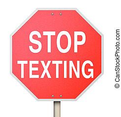 fahren, gefahr, halt, texting, zeichen, warnung, straße, text, rotes