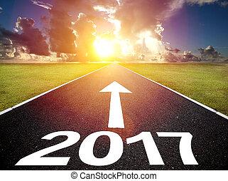 fahren, leerer , jahr, neu , glücklich, 2017, straße, begriff