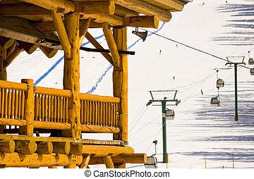 fahren ski zuflucht, hölzern, hütte