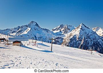 fahren ski zuflucht, in, französische alpen