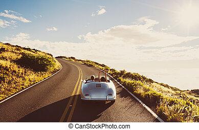 fahren, weinlese, sport, land, coupe, straße, auto