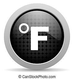 fahrenheit black circle web glossy icon