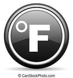 fahrenheit black glossy icon on white background
