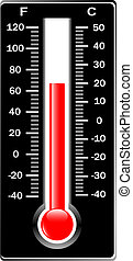 fahrenheit., centígrado, thermometer., vector.