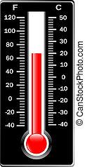 fahrenheit., centigrado, thermometer., vector.