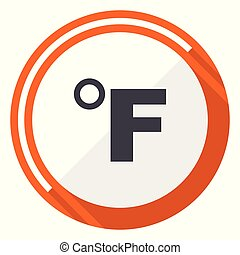 Fahrenheit flat design vector web icon. Round orange internet button isolated on white background.