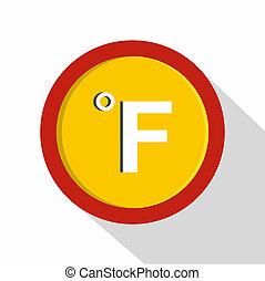 Fahrenheit icon, flat style