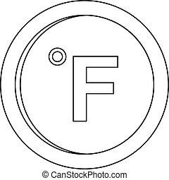 Fahrenheit icon, outline style. - Fahrenheit icon. Outline...
