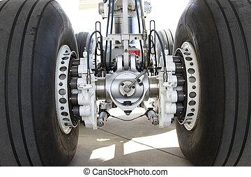 fahrgestell, von, ein, motorflugzeug