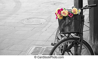 fahrrad, bas, desaturation, wahlweise, altes , blumen