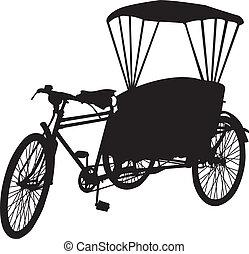 fahrrad, drei, silhouet, taxifahrzeuge, rad