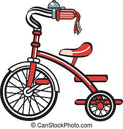 fahrrad, fahrrad, dreirad, clipart, dreiradfahren