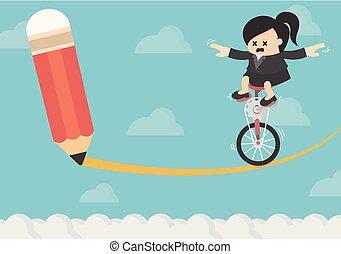 fahrrad, frau, risiko, geschaeftswelt, reiten
