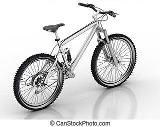 fahrrad, freigestellt, weiß, hintergrund, mit, reflexion
