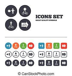 fahrrad, fußgänger, zeichen., spur, pfad, icon., straße