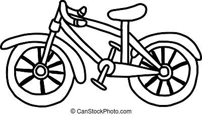 fahrrad, gekritzel, freigestellt, hand, vektor, hintergrund, illustation, gezeichnet, weißes