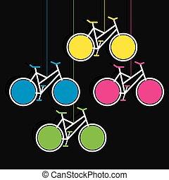 fahrrad, hängen, bunte, info-graphics