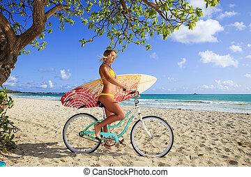 fahrrad, m�dchen, sie, surfbrett