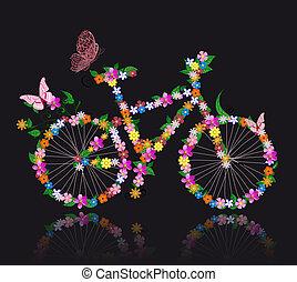 fahrrad, mit, blumen