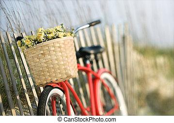 fahrrad, mit, flowers.