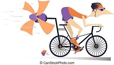fahrrad, reitet, freigestellt, mann, karikatur
