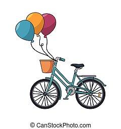 fahrrad, retro, mit, luftballone, party