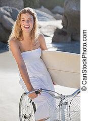 fahrrad, schöne , sein, besitz, surfer, sundress, surfbrett