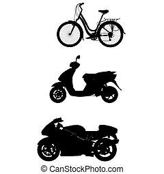 fahrrad, silhouette, grobdarstellung, motor