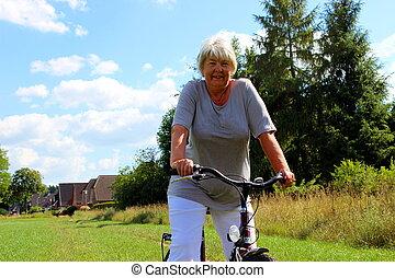 fahrrad, sport, seniorin, natur