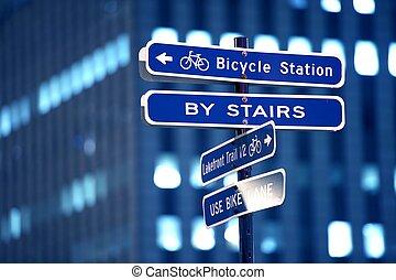 fahrrad, station, zeichen