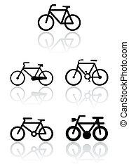 fahrrad, symbol, abbildung, set.