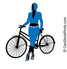 fahrrad, weibliche , silhouette, reiter, abbildung