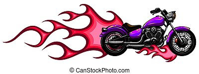 fahrrad, zerhacker, brennender, ansicht, abbildung, vektor, ...