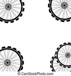 fahrradräder, muster, freigestellt, weiß, hintergrund