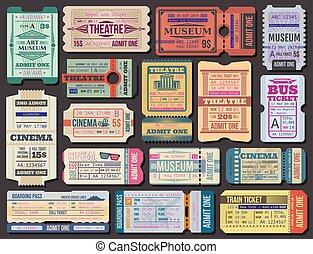fahrschein, zu, filme, theater, oder, museum, bordkarte