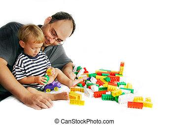 fahter, en, zoon, spelend, met, gebouw stel