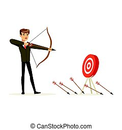 Faiiled businessman with bow and arrow is aiming at target, ...