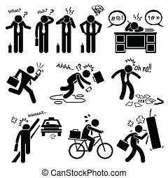 Fail Businessman Clipart - A set of human pictogram...