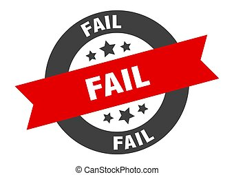 fail sign. fail black-red round ribbon sticker