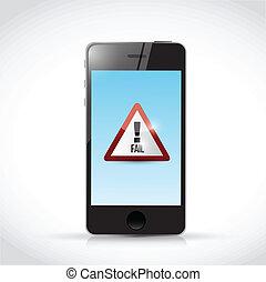 fail sign on a phone. illustration design