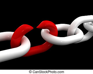 fail teamwork - fine 3d image of white chain and weak red ...