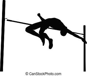 failed attempt high jump man athlete black silhouette