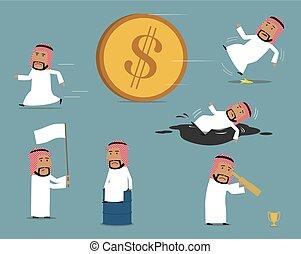 Failed, bankrupt arab businessman character set