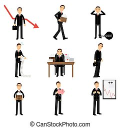 Failed businessman character set, business and financial failure, bankruptcy, economic crisis, unemployment vector Illustrations