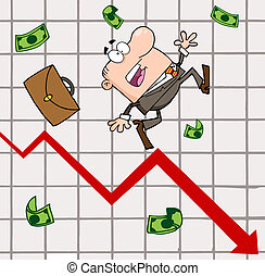 Failed Businessman Goes Down With The Statistics Arrow