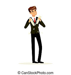 Failed businessman tearing a sheet of paper vector Illustration