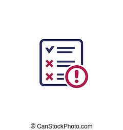 failed test icon on white