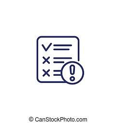 failed test line icon on white