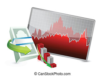 failing stock exchange graph