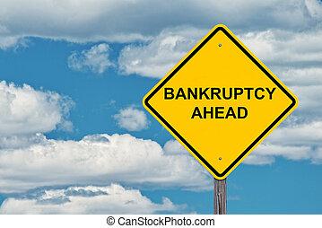 faillite, avertissement, devant, signe